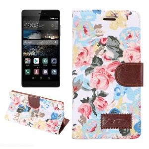 Flower Cloth Skin Leather Case for Huawei Ascend P8 with Card Holder - White