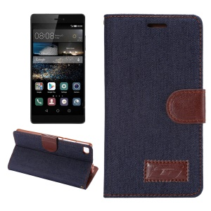 Jeans Cloth Skin Leatherette Magnetic Cover for Huawei Ascend P8 - Black Blue