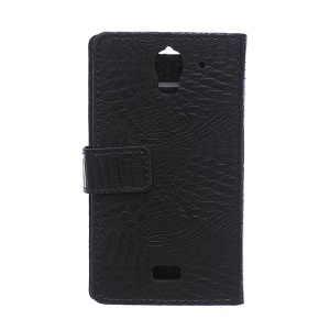 Crocodile Skin Leather Case for Huawei Y360 with Card Slots - Black