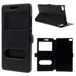 Silk Texture Dual Window Leather Case for Huawei Ascend P8 - Black