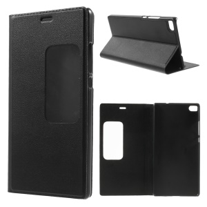 Window View Smart Leather Phone Case for Huawei Ascend P8 - Black