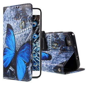 Callfree Blue Butterfly Leather Wallet Case Cover for Huawei Honor 6