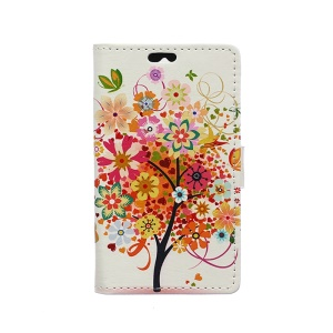 Illustration Pattern Wallet Leather Stand Cover for Huawei Y360 - Colorful Flower Tree