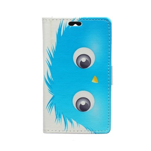 Patterned Flip Wallet Leather Case for Huawei Y360 - Blue and Yellow Hairy Doll
