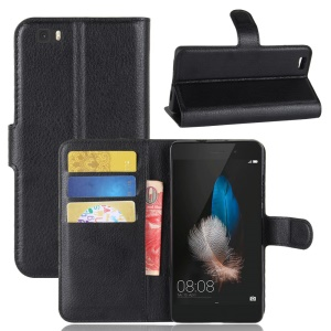 Litchi Skin Wallet Leather Stand Case for Huawei Ascend P8 Lite - Black