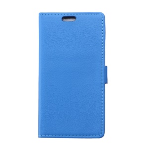 Litchi Texture Wallet PU Leather Cover for Huawei Y360 with Stand - Blue