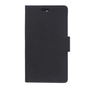 Litchi Skin Wallet Leather Stand Case for Huawei Y360 - Black
