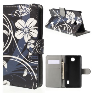 White Flowers Wallet Leather Stand Case for Huawei Y635