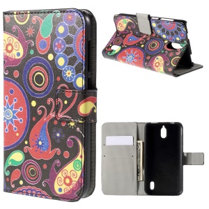Paisley Flower Flip Wallet Stand Leather Case for Huawei Y625