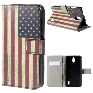 Vintage US Flag Flip Wallet Stand Leather Shell for Huawei Y625