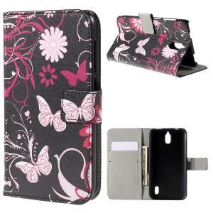 Butterflies and Flowers Wallet Stand PU Leather Case for Huawei Y625