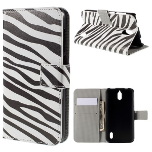Zebra Stripes Wallet Stand PU Leather Cover for Huawei Y625
