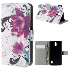 Kapok Flower Magnetic Wallet Stand Leatherette Cover for Huawei Y625
