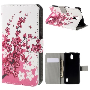 Plum Blossom Magnetic Wallet Stand Leatherette Case for Huawei Y625