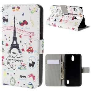 Eiffel Tower and Fruits PU Leather Protective Case for Huawei Y625