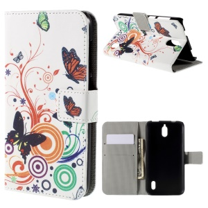 Butterflies and Circles PU Leather Protective Cover for Huawei Y625