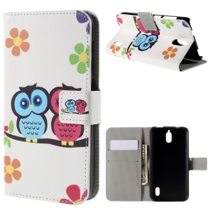 Owl Lover and Flower Wallet Leather Phone Cover for Huawei Y625