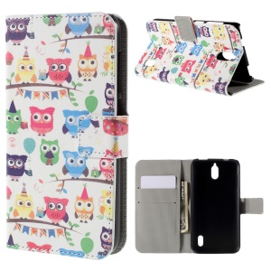 Multiple Cute Owls PU Leather Protective Cover for Huawei Y625