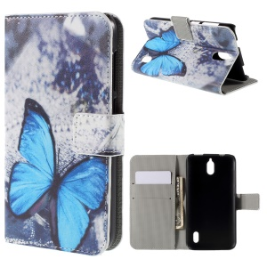 Blue Butterfly Flip Wallet Leather Phone Case for Huawei Y625