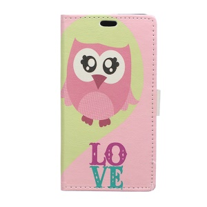 Leather Wallet Cover for Huawei Ascend P8 Lite with Stand - Cute Owl Love Pattern