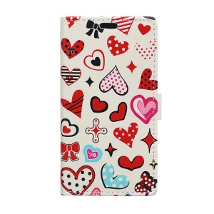 Leather Wallet Cover for Huawei Ascend P8 Lite with Stand - Color Hearts Clip Art