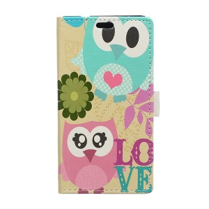 Leather Wallet Cover for Huawei Ascend P8 Lite with Stand - Color Owls Flower & Love Clip Art