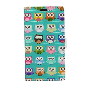 Leather Wallet Cover for Huawei Ascend P8 Lite with Stand - Color Owls Clip Art on Cyan Background