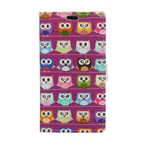 Leather Wallet Cover for Huawei Ascend P8 Lite with Stand - Color Owls Clip Art on Rose Background