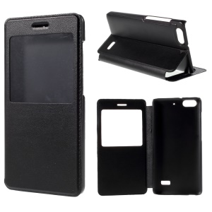 Window View Leather Case Cover for Huawei Honor 4C - Black
