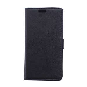 Litchi Skin Wallet Leather Stand Case for Huawei Y625 - Black