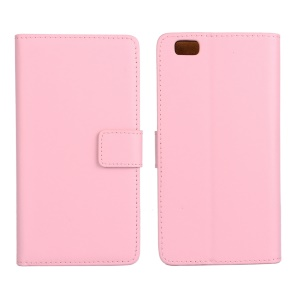 Genuine Split Leather Phone Cover for Huawei Ascend P8 Lite - Pink