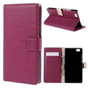 Litchi Grain Flip Wallet Leather Cover for Huawei Ascend P8 Lite - Rose