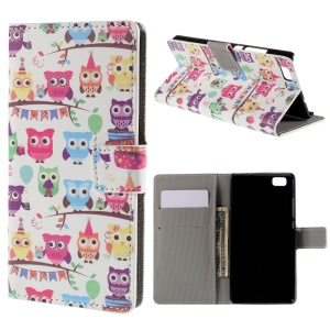 Adorable Owls Wallet PU Leather Cover for Huawei Ascend P8 Lite