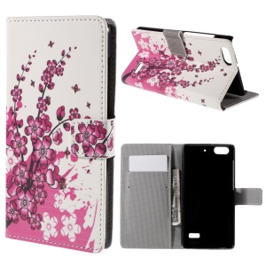 Patterned Wallet Leather Stand Shell for Huawei Honor 4C - Plum Blossom
