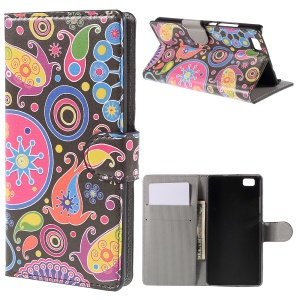 Paisley Flower Flip Wallet Leather Cover for Huawei Ascend P8 Lite