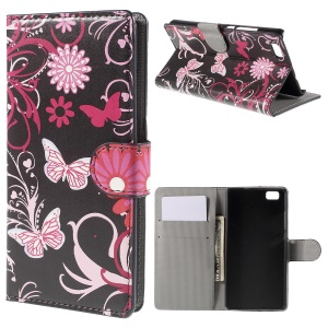 Butterflies and Flowers Wallet Leather Shell for Huawei Ascend P8 Lite