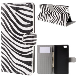 Zebra Stripes Wallet PU Leather Case for Huawei Ascend P8 Lite