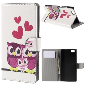 Sweet Owl Family Wallet PU Leather Cover for Huawei Ascend P8 Lite