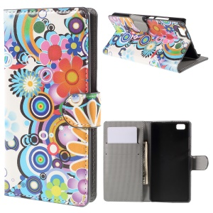 Colorized Flowers Magnetic Walle Leatherette Shell for Huawei Ascend P8 Lite