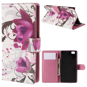 Kapok Flower Magnetic Walle Leatherette Cover for Huawei Ascend P8 Lite