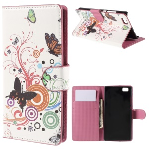 Butterflies and Circles Card Holder Leatherette Cover for Huawei Ascend P8 Lite