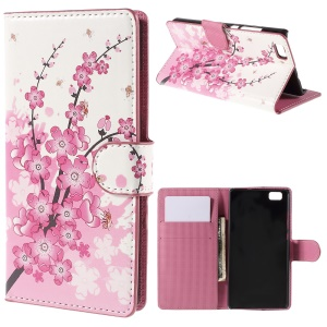 Plum Blossom Card Holder Leather Case Shell for Huawei Ascend P8 Lite