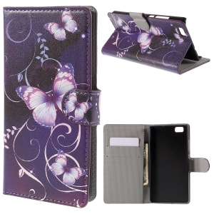 Purple Butterfly Flip Wallet Leather Phone Case for Huawei Ascend P8 Lite
