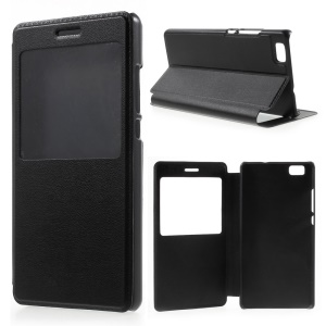 View Window Leather Case for Huawei Ascend P8 Lite - Black