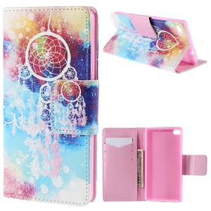 Patterned Wallet Leather Stand Shell for Huawei Ascend P8 - Dream Catcher