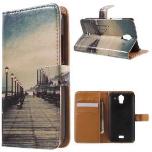 Seaside Trestle Wallet Leather Stand Cover for Huawei Y360