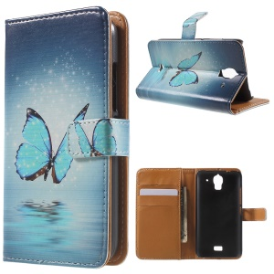 Blue Butterfly Leather Wallet Case Cover for Huawei Y360