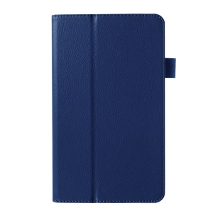 Litchi Texture 2-fold Stand Leather Cover for Huawei MediaPad M1 8.0 - Blue