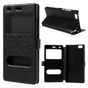 Double Windows Silk Texture Leather Case for Huawei Ascend P8 Lite - Black
