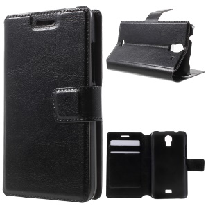For Huawei Y360 Crazy Horse PU Leather Phone Case - Black
